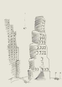Jules van der Ley, Kugelschreiberskizze, (2004) Format 14,8 x 21,0 cm, (größer: Klicken)