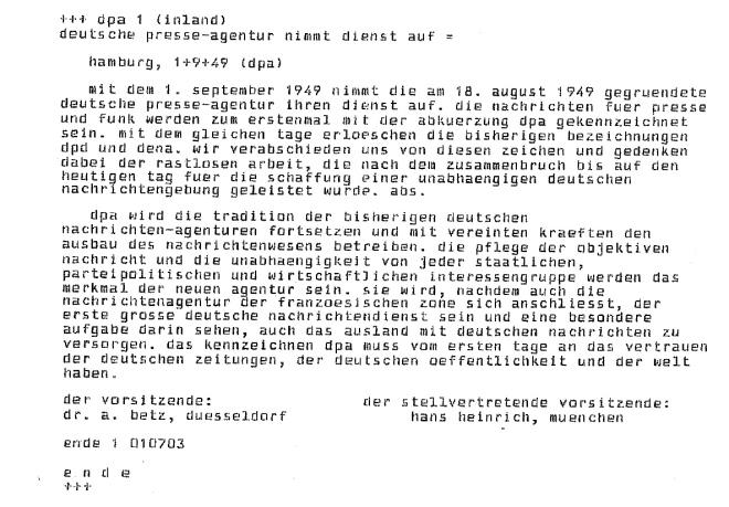 Mit dieser Meldung nahm die Deutsche Presse-Agentur (dpa) am 01.09.1949 ihren Sendebetrieb auf. (Abbildung: dpa)