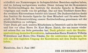 Aus dem Vorwort des Dudens, 16. Auflage, 1967 - Scan und Markierung: JvdL (größer: bitte klicken)
